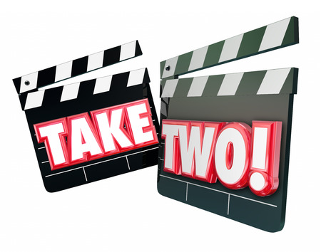 Take Two 2 words on movie or film clapper boards to illustrate a redo or trying again with second attempt