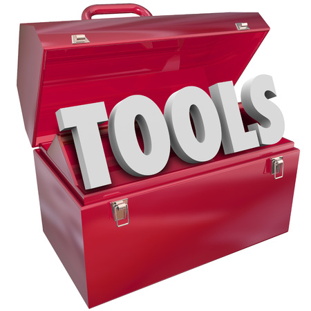 skillset: Tools word in 3d letters in red metal toolbox to symbolize skills, resources and capabilities