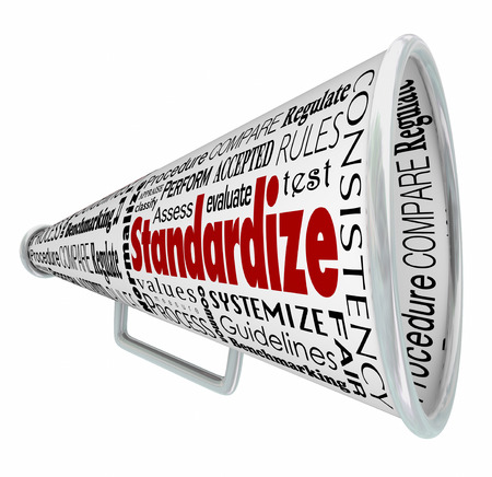 compared: Standardize words on bullhorn or megaphone to illustrate common measurement, testing or comparison Stock Photo