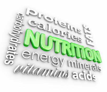 蛋白質、カロリー、炭水化物、エネルギー、ビタミン、ミネラルなどの栄養の単語コラージュ