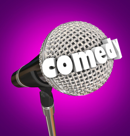 comedy: Comedy word in 3d letters on a microphone for a stand-up comic or performer Stock Photo