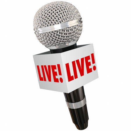 important: Live word on microphone box or cube for on the scene special report