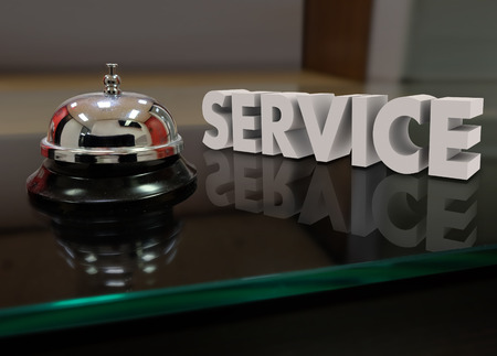 front desk: Service 3d word beside a bell to call for help or assistance at a front desk