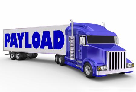 配信の出荷として大きなリグ青半トラックで連行トレーラー上のペイロードの単語