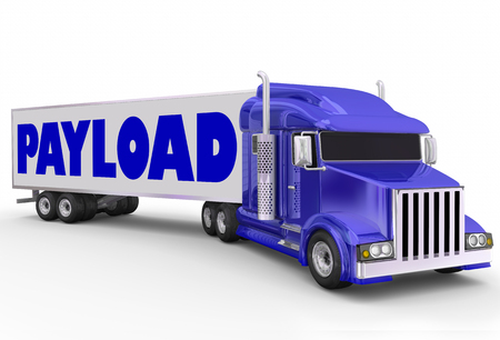 payload: Payload word on a trailer hauled by big rig blue semi truck as shipment for delivery