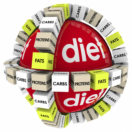 risky behavior: Proteins, Carbs and Fats words on cubes or boxes around a red sphere marked Diet Stock Photo