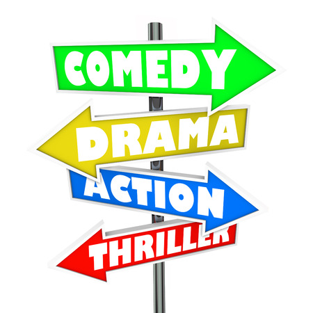 categories: Comedy, Drama, Action and Thriller words on arrow signs for movie categories or genres Stock Photo