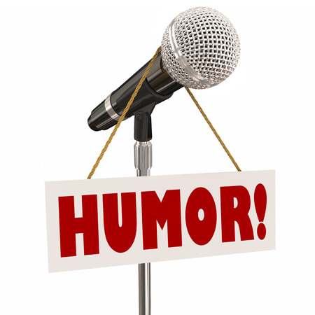 hilarity: Humor sign on a microphone for stand-up comedy, comic or performer doing a funny act