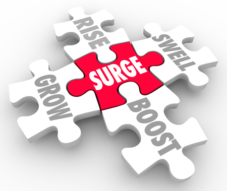 swelled: Boost word on red puzzle piece connected to Grow, Rise, Boost and Swell Stock Photo