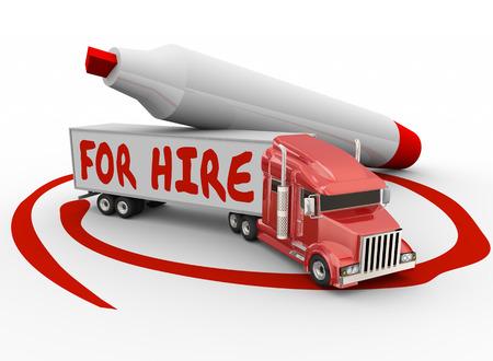 赤いマーカーの所有者演算子またはドライバーとして雇う言葉に書かれたトラックの請負業者