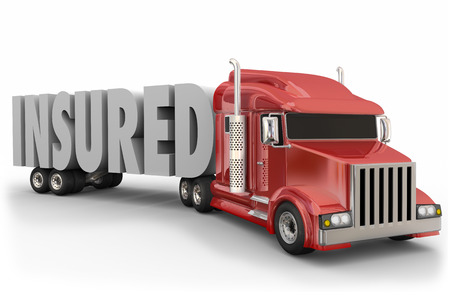 ship order: Insured 3d word on a red trailer truck to illustrate insurance coverage for drivers and load being hauled