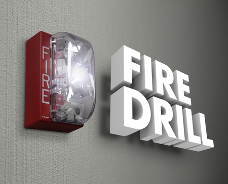 Fire Drill words in 3d letters as a light or siren goes off in an emergency trial run to be prepared and ready for real crisis