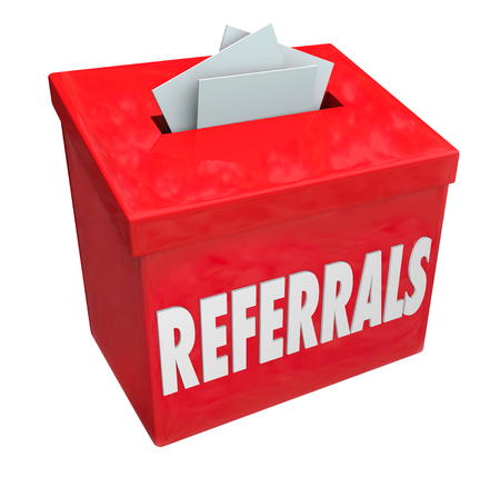 referrals: Referrals word on 3d red box for collecting word of mouth customers referred by loyal clients