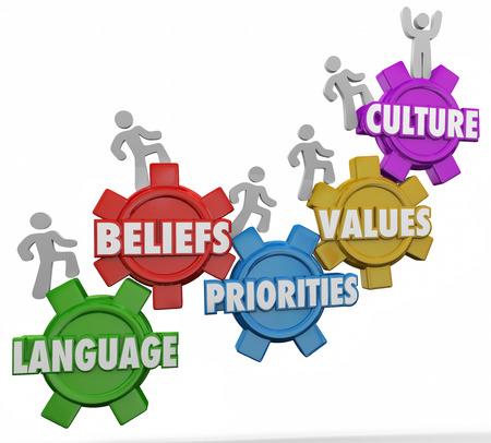 Cultuur woord over de tandwielen en mensen klimmen samen met een gedeelde taal, overtuigingen, prioriteiten en waarden Stockfoto
