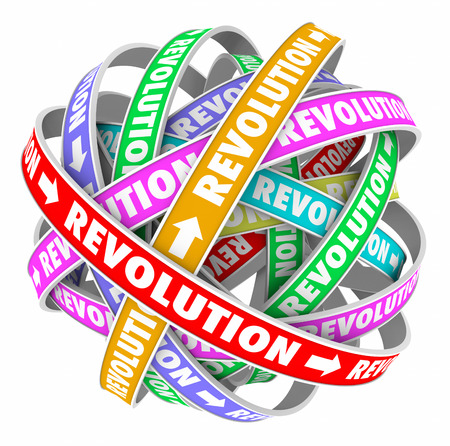 disrupting: Revolution words on spiral patterns in an endless cycle to illustrate constant change and innovation