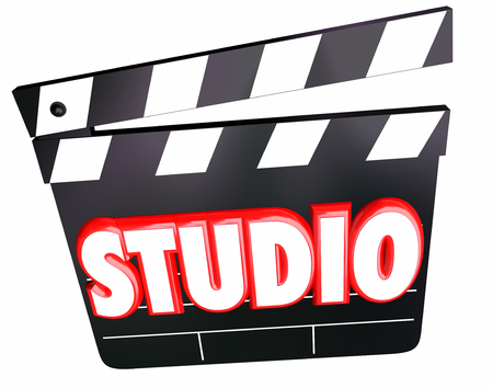 feature films: Studio word in3d red letters on a movie clapper board to illstrate a film production company shooting on a set or soundstage Stock Photo
