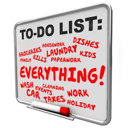 To Do List faccende, attività, lavoro e progetti scritti su una scheda di messaggio per un sovraccarico o stressato vita