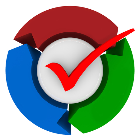 inspected: Check mark on a sphere surrounded by three arrows to illustrate a completed or finished process or procedure Stock Photo