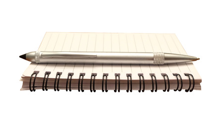 prioritizing: Notepad and pen isolated for writing a note, journal or making a list