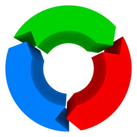 flecha: Tres 3 flechas en un diagrama del ciclo o diagrama de flujo aislados