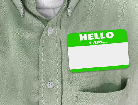 Hallo ik ben blanco naam tag gedragen door persoon in groen knoop shirt