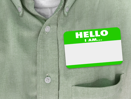 meet and greet: Hello I Am blank name tag worn by person in green button shirt