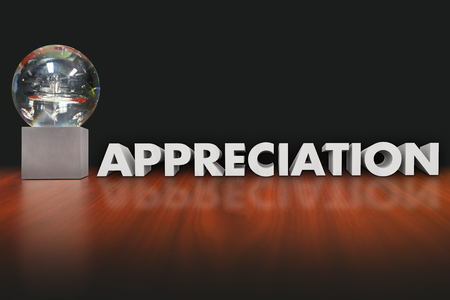 recognize: Appreciation word in 3d letters beside a trophy, prize, award or reward honoring or recognizing an employee, worker or team member