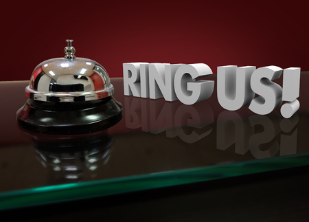 front desk: Ring Us words in 3d letters on a front desk of a hotel or service counter