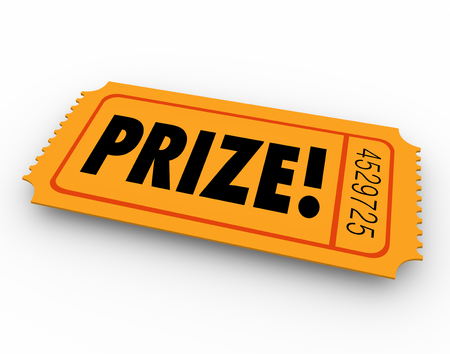 fundraiser: Prize word on winning ticket in drawing, raffle or fund-raiser game or competition