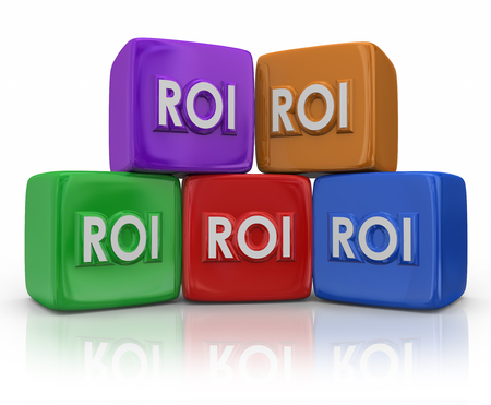 return on investment: ROI Return on Investment letters on colorful blocks or cubes to illustrate measuring the amont of income or earnings as related to costs of investing