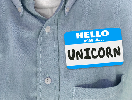 unique characteristics: Hello I Am a Unicorn words on a name tag on blue shirt to symbolize a perfect leader or employee candidate Stock Photo