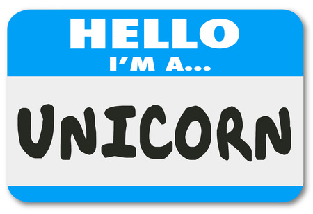 Great: Unicorn word on a Hello nametag sticker to illustrate the perfect, rare, uncommon, special or unique job candidate or leader