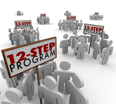 step by step: 12 Step Program signs and people meeting in support groups to illustrate helping others kick addition to alcohol, drugs or other harmful substances