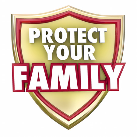 household accident: Protect Your Family words on a gold shield to illustrate home or house safety, security and safeguarding