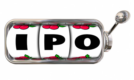 new ipo: IPO letters on slot machine wheels to illustrate betting or gambling on a new start-up initial public stock offering to raise funding