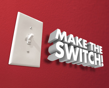 reversing: Make the Switch 3d words on a wall to illustrate changing, transforming or flipping your choice or direction
