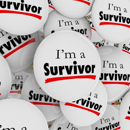 私は白いボタンまたは断固とした、勇敢な勇敢なことを説明するためにピンと予想に反して perservering の生存者の言葉 写真素材