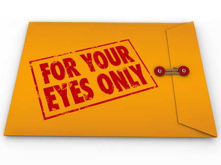 private information: For Your Eyes Only in red grunge ink stamp on yellow envelope of classified, sensitive, private or personal secret information