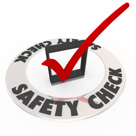 dangerous: Safety Check words with mark and box to illustrate a security precaution procedure, system or review to reduce risk and danger Stock Photo