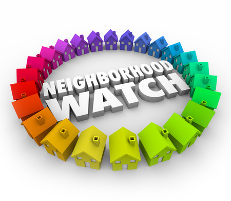 Neighborhood Watch words in 3d letters surrounded by houses or homes for an organized patrol to prevent crime, burglary and theft