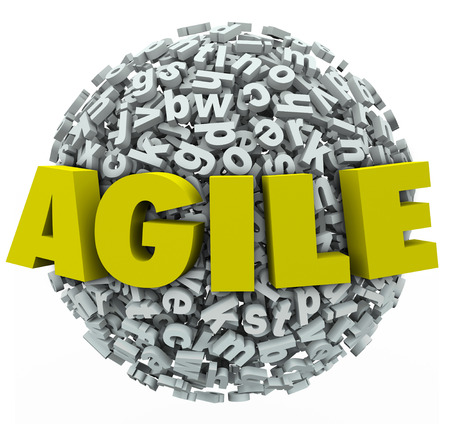 adapting: Agile word in 3d letters ona  ball or sphere to illustrate adapting or changing with innovation Stock Photo