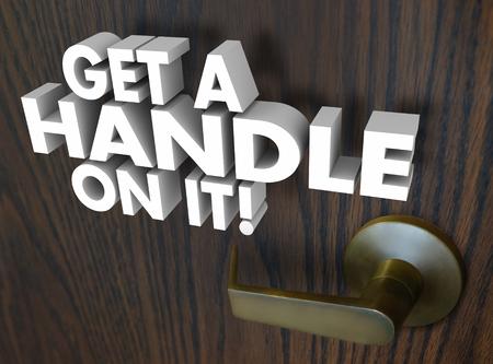 핸들을 얻으십시오 3d 문안에 흰색 글자를 사용하여 목제 문에 금색 핸들로 상황, 문제점 또는 문제를 파악하거나 설명하는 것을 설명합니다. 스톡 콘텐츠