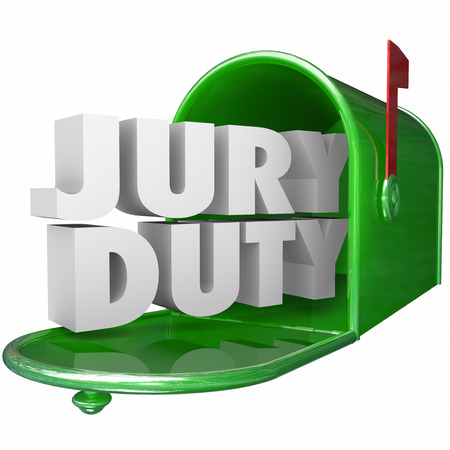 jurado: palabras de Jurado en letras blancas 3d en un buzón de metal verde que ilustran conseguir nuevo requerimiento de su responsabilidad legal o servicio como ciudadano