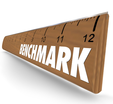 benchmark: Benchmark word on a ruler to illustrate measuring the difference between companies or products in comparison