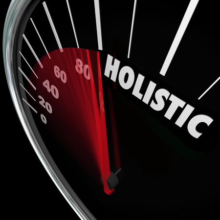 aspects: Holistic word on speedometer to illustrate a whole or total approach reaching balance of mind, body and soul