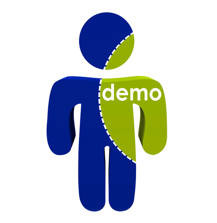 segmented bodies: Demo word on portion of person body to illustrate market research on segment of population or customers