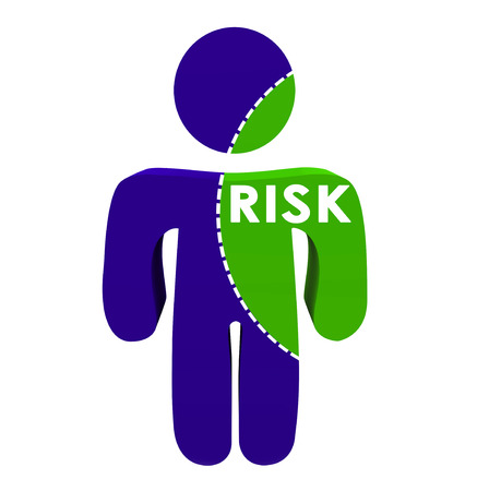 risky behavior: Risk word on 3d person with dotted line to illustrate or represent amount of danger or likelihood of injury or damage