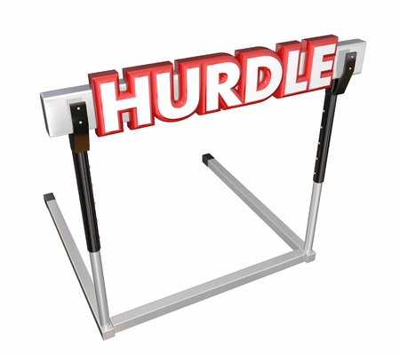 stronger: Hurdle word in 3d red letters on an obstacle to overcome in a race, challenge or competition in life, work, job or career