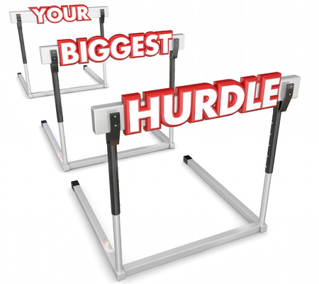 stronger: Your Biggest Hurdle words on obstacles to overcome in a race, competition or difficult problem in work, career or life Stock Photo