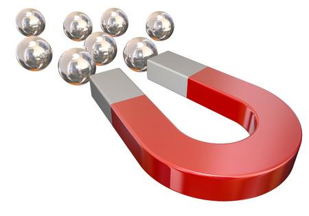 iman: Un imán rojo tirando de rodamientos de bolas de metal de plata para ilustrar o simbolizan la atracción física o la fuerza